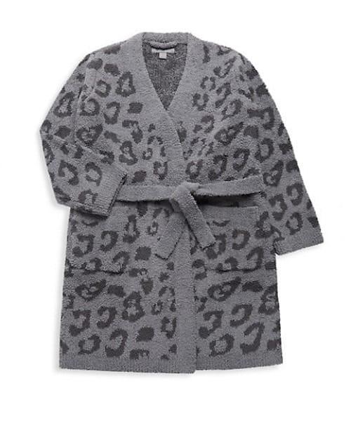 Girl's Barefoot Dreams Leopard-Print Robe