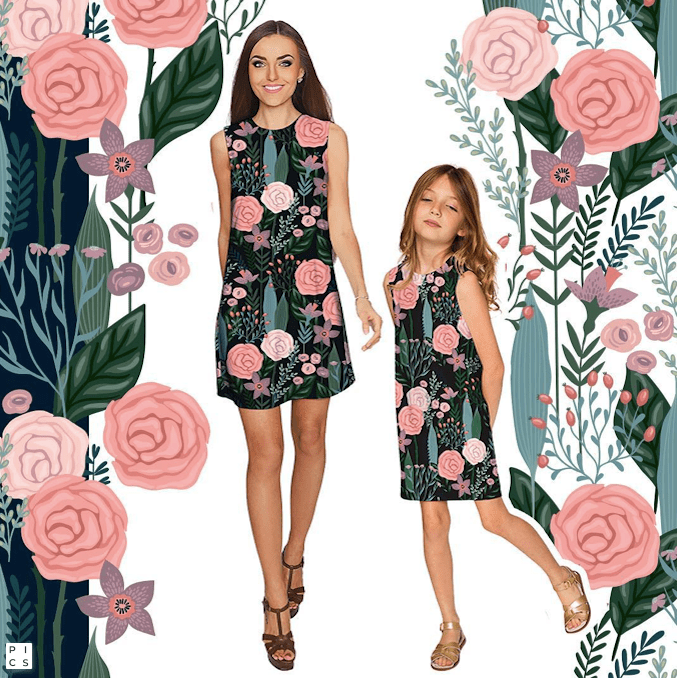 COVER GIRL ADELE BLACK & Pink FLORAL PRINTED MOMMY AND ME DRESS