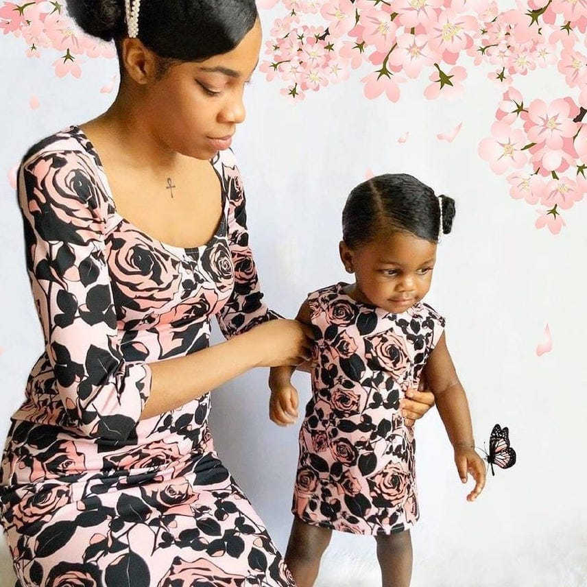 FLIRTY GIRL LILI PINK FLORAL MOMMY AND ME DRESS