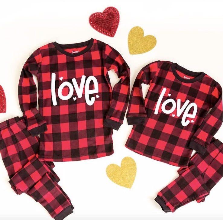 Family Matching Buffalo Plaid Love Valentines Pajamas