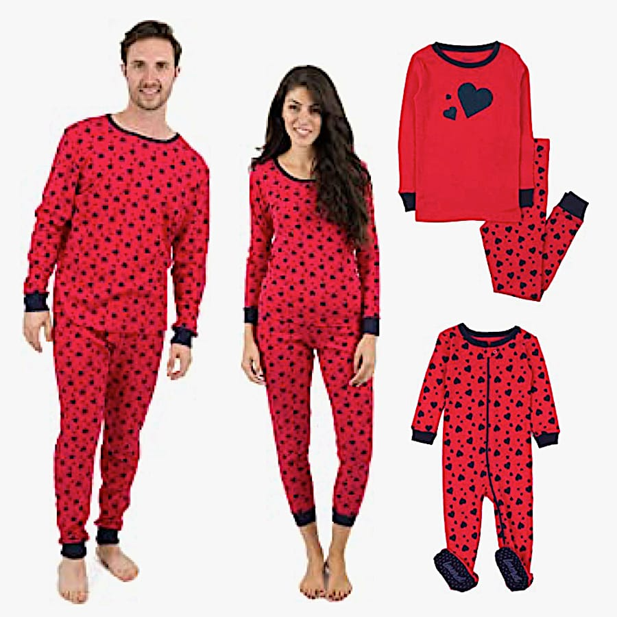 Family Matching Red and Black Hearts Pajamas