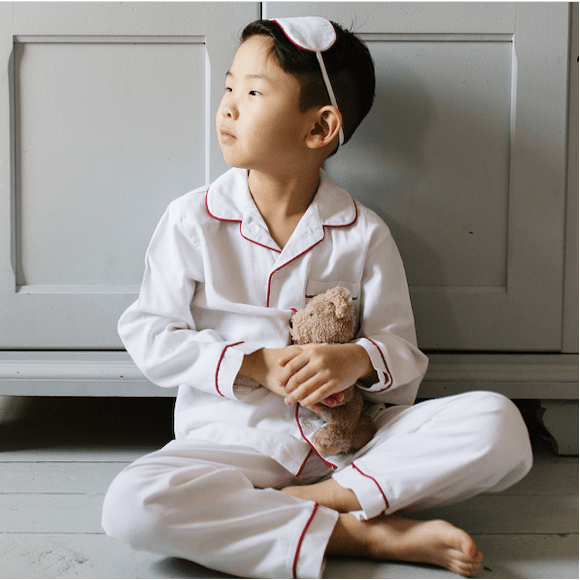 Family Matching White Pajamas Set with Red Piping