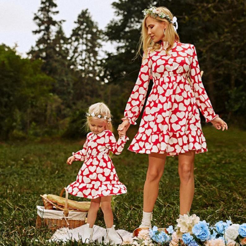 Heart Print Mother Daughter Matching Dresses