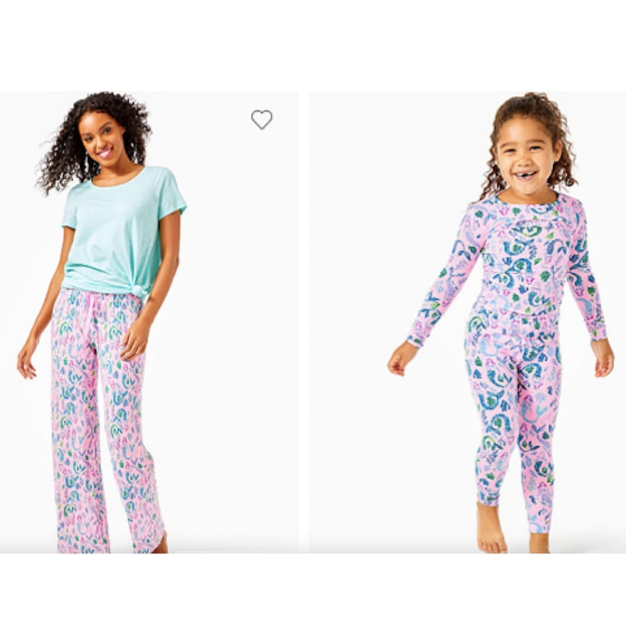 Lilly Pulitzer Pink Blossom Mommy and Me Matching Pajamas