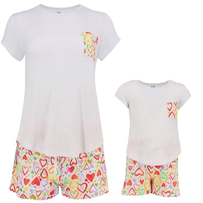 Mommy and Me Matching Rainbow Hearts Short PJs