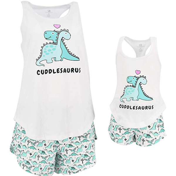 Mommy and Me Cuddlesaurus Valentine's Day Loungewear