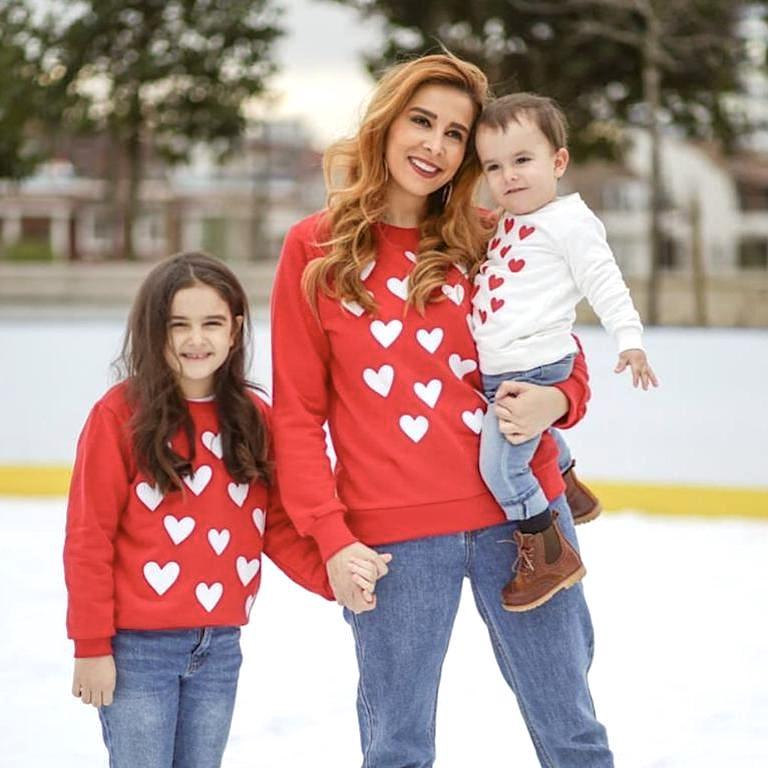 Mommy and Me Matching Heart Sweatshirt Shirts
