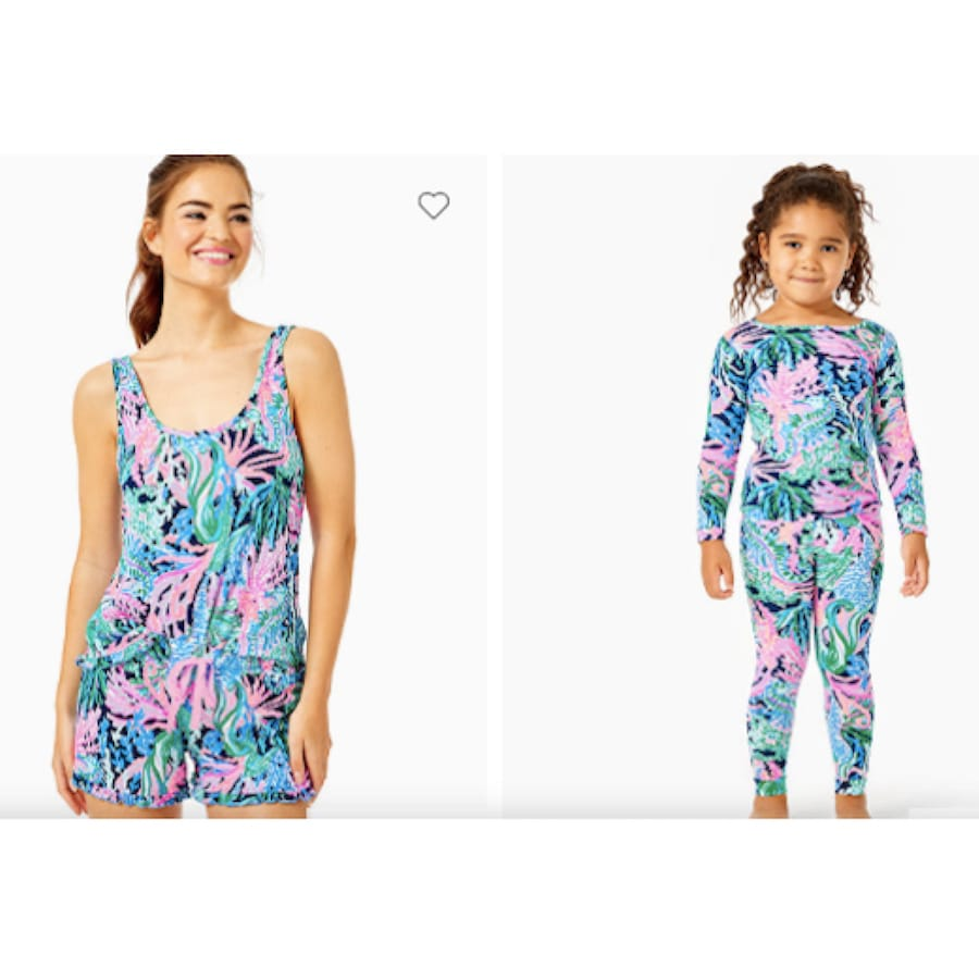 Mommy and Me Matching Lilly Pulitzer High Tide Navy Bringing Mermaid Back Pajamas