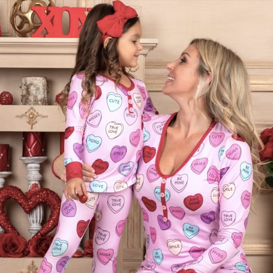 Mommy and Me Valentines Day Themed Heart Print Button Pajamas