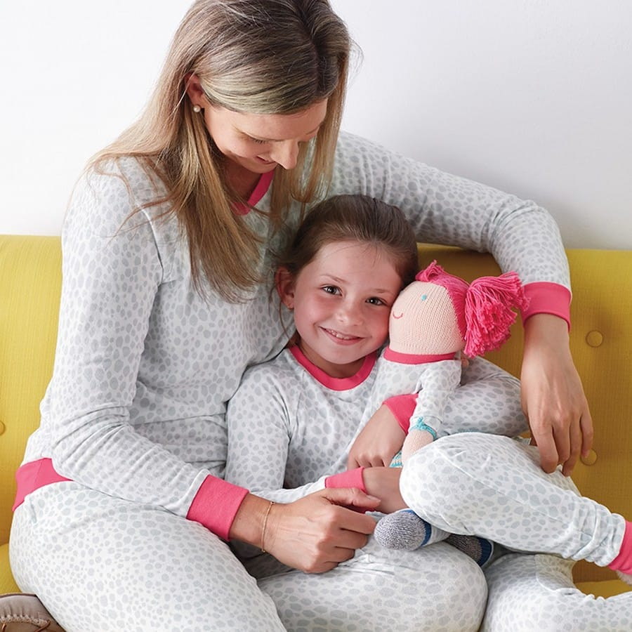 Mother Daughter Matching Gray and Pink Animal Print Pajamas
