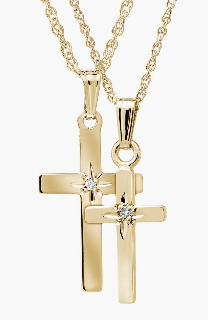Mother Daughter 14K Gold Crosses Matching Necklace Sets