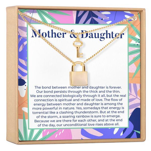Mother & Daughter Matching Lock and Key Pendants Necklace Set