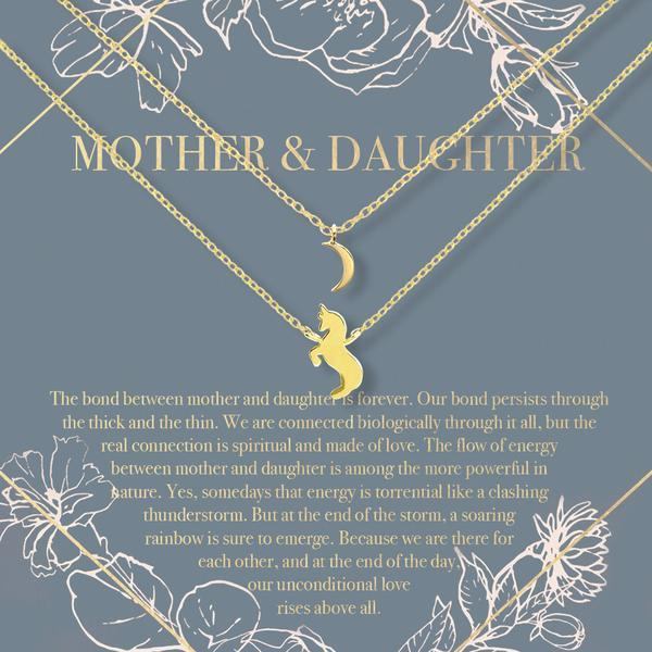 Mother & Daughter Moon and Unicorn Pendant Necklace Sets