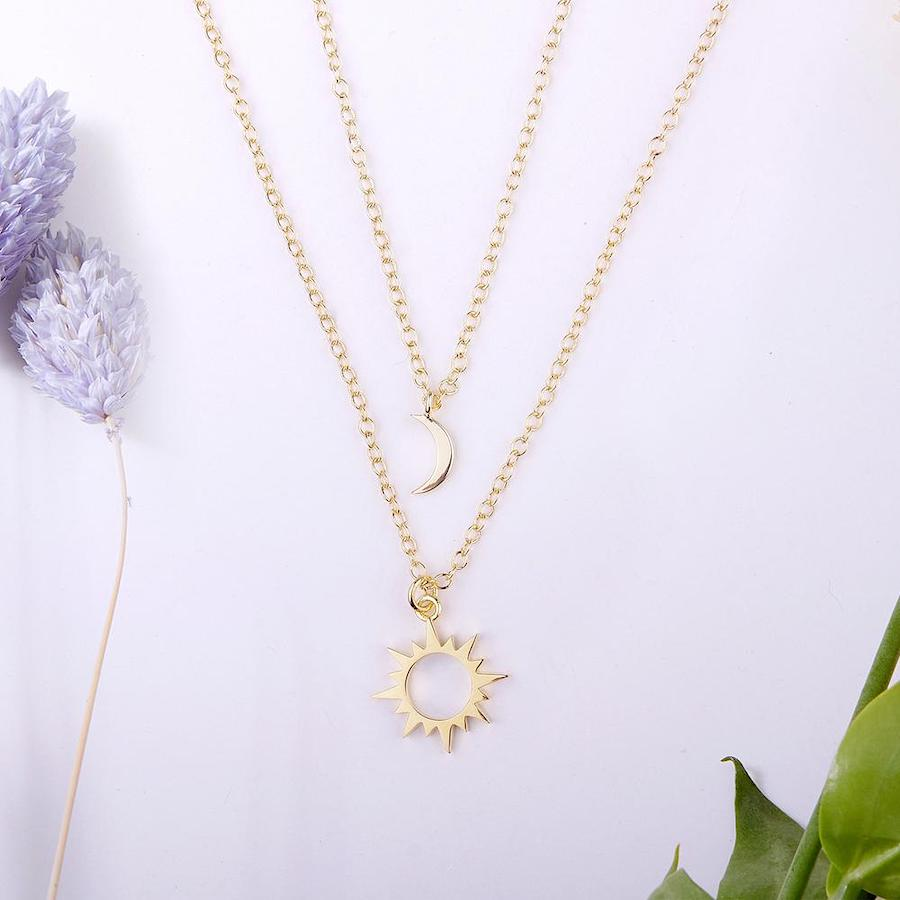 Mother & Daughter Sun and Moon Pendants Necklace Set