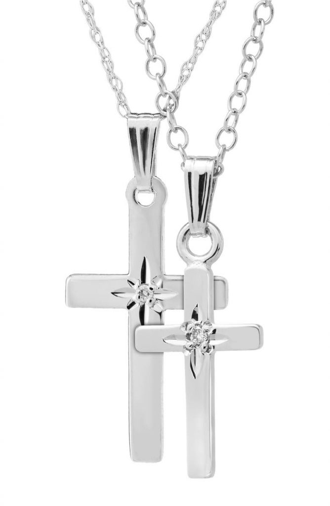 Mother Daughtter Sterling-Silver Crosses Matching Necklace Sets