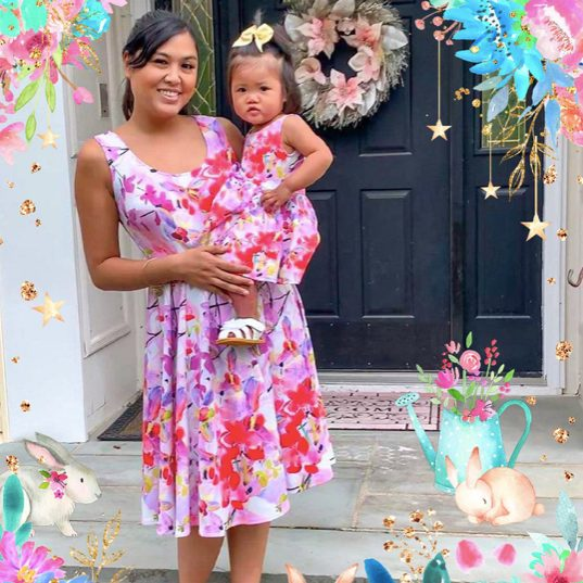 ORCHID CAPRICE MIA FIT & FLARE PINK FLORAL MOMMY AND ME DRESS
