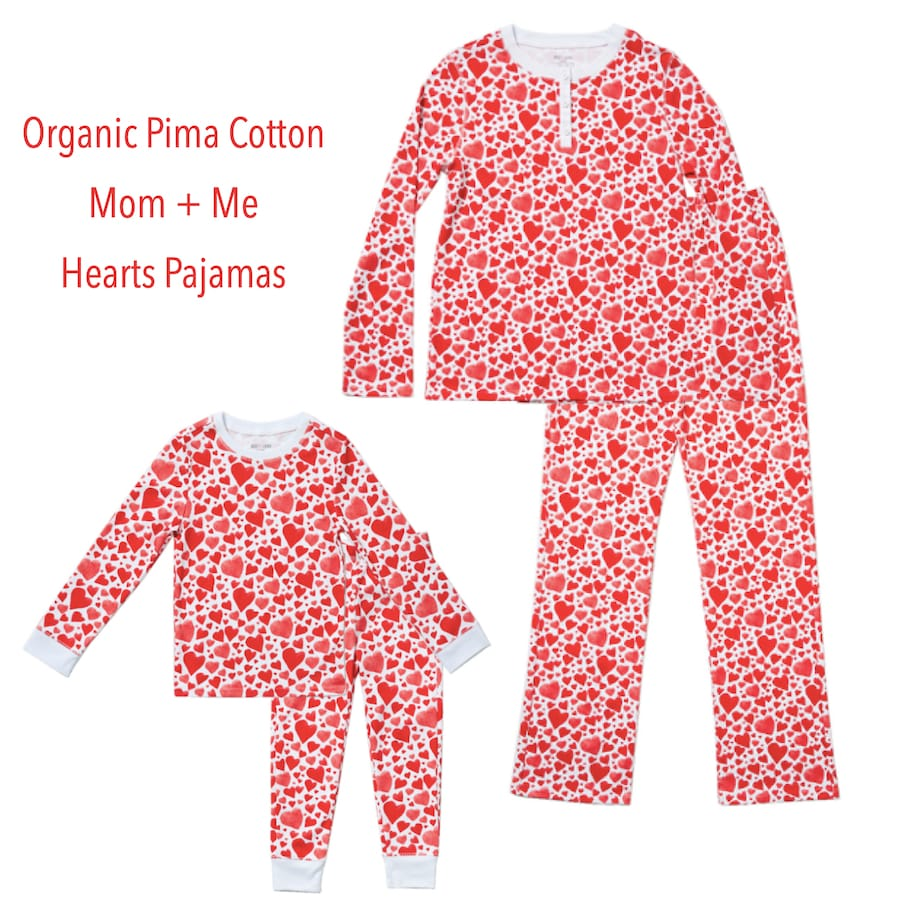 Family Matching Organic Pima Cotton Hearts Valentine's Day PJs