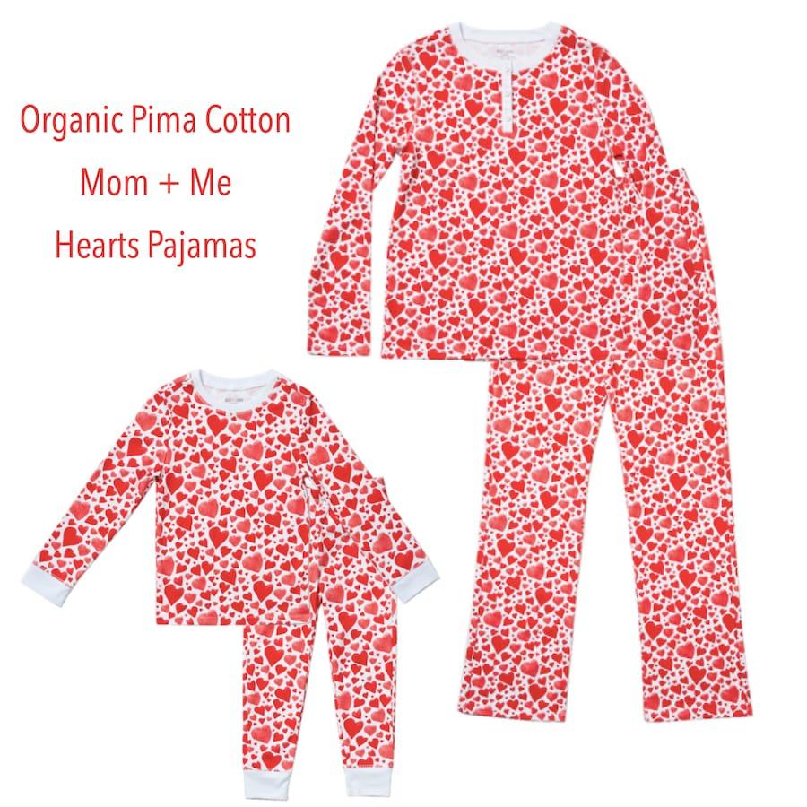 Family Matching Organic Pima Cotton Hearts Valentine's Day PJs