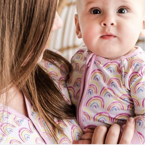 Pastel Rainbows Mommy and Me Matching Bamboo Viscose Pajamas