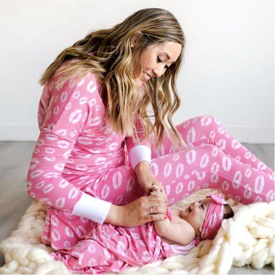 Pink Kisses Mommy and Me Bamboo Viscose Pajamas