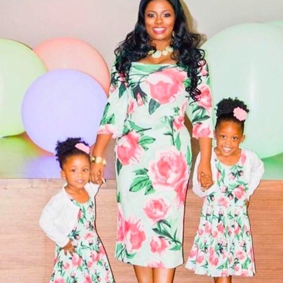 SWEETHEART GREEN AND PINK FLOWER PRINT MOMMY AND ME DRESS