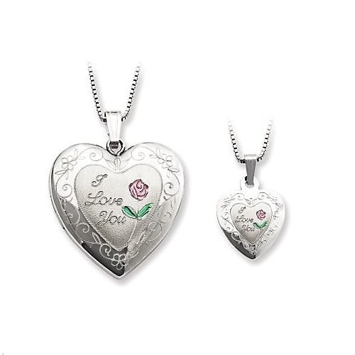 Sterling I Love You Heart Locket & Child's Pendant Set