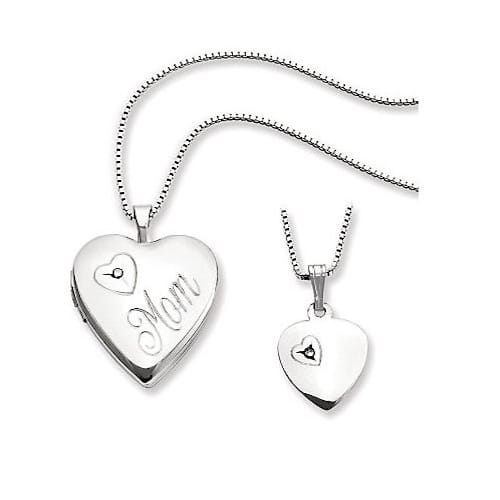 Sterling Polished Mom Heart Locket & Child'sPendant Set