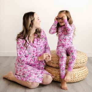 Sweetheart Floral Mother Daughter Matching Bamboo Viscose Sleepwear