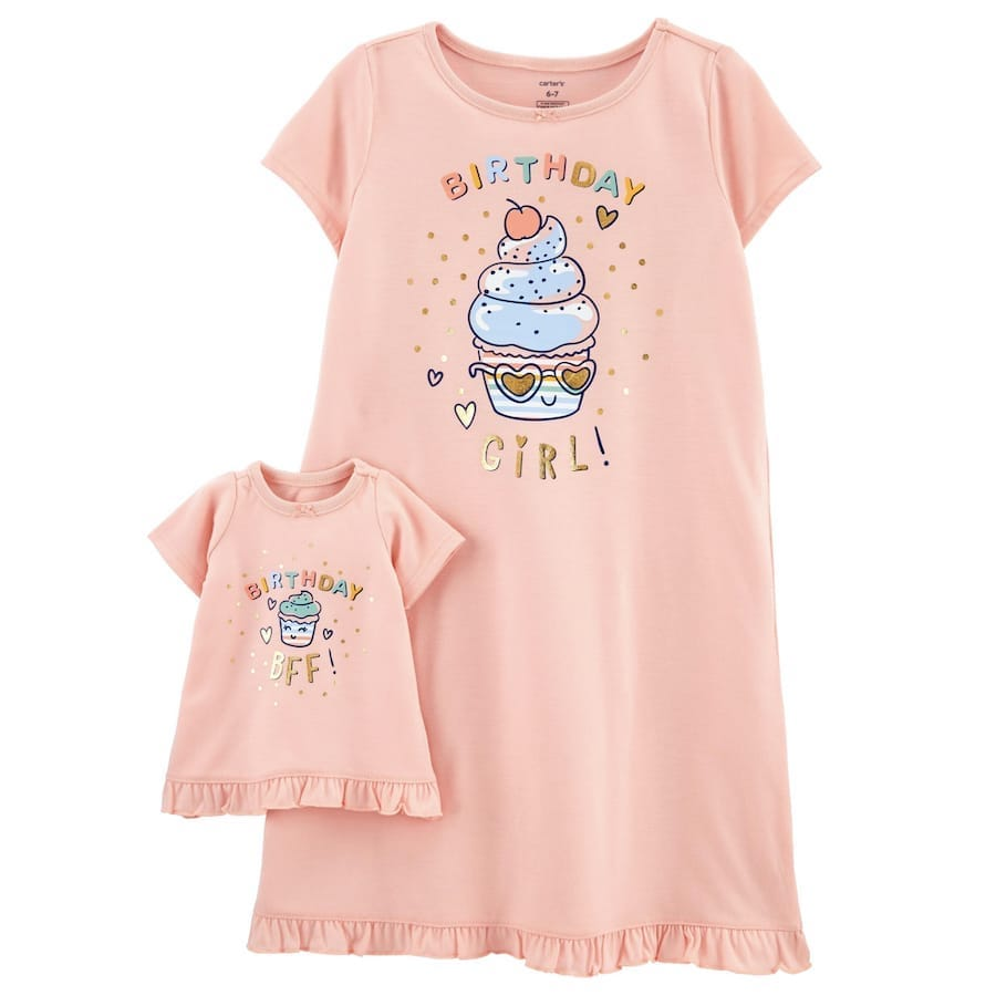 Birthday Girl Matching Nightgown & Doll Nightgown Set