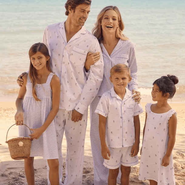 Family Matching Bateau Summer Sleepwear