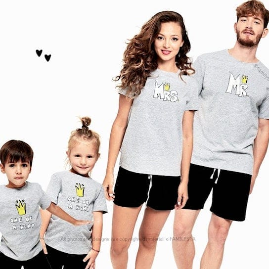 Family Matching Mr. and Mrs and One of a Kind Short Pajamas