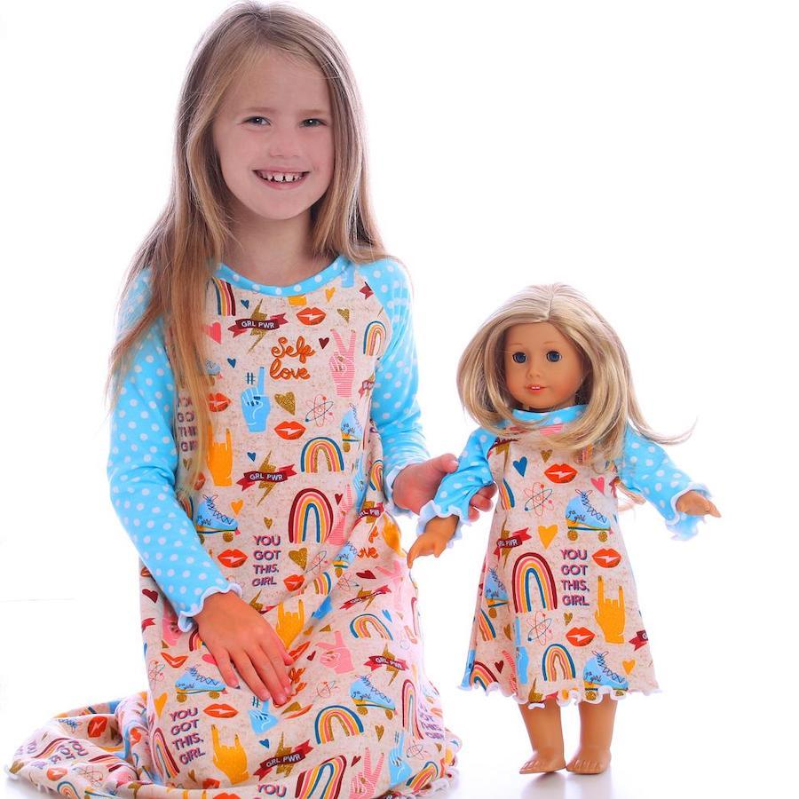 Girl and Doll Peace Nightgown Set