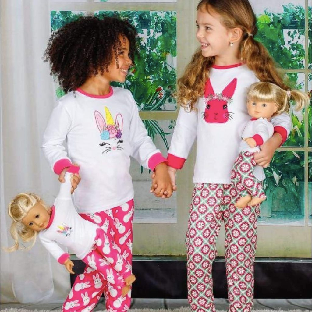 Girls and Doll Matching Easter Themed Long Sleeve Pajama Set