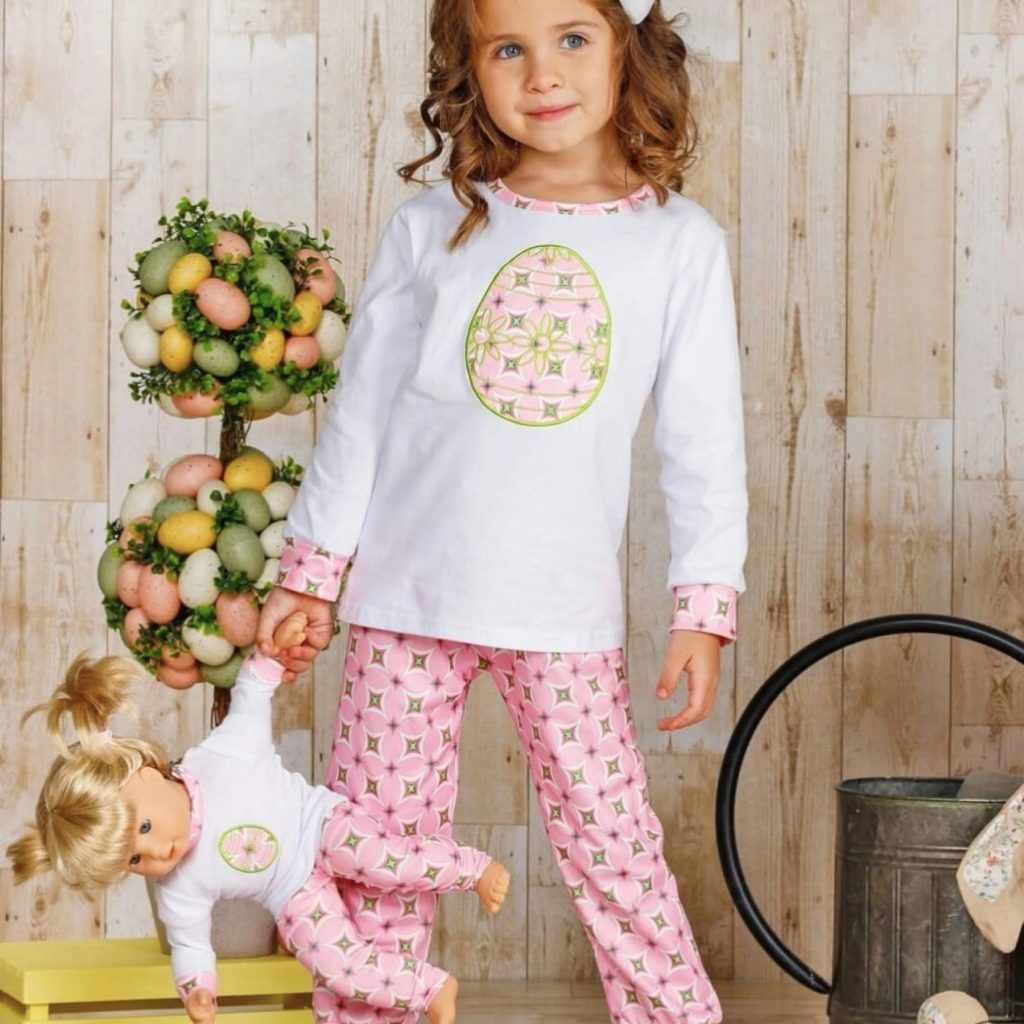Girls and Doll Matching Welcome Easter Long Sleeve PJ Set