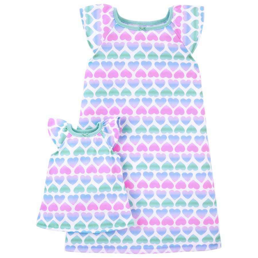 Matching Hearts Nightgown & Doll Nightgown Set