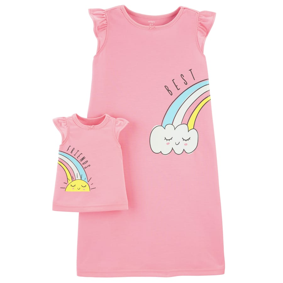 Matching Rainbow Nightgown & Doll Nightgown Set