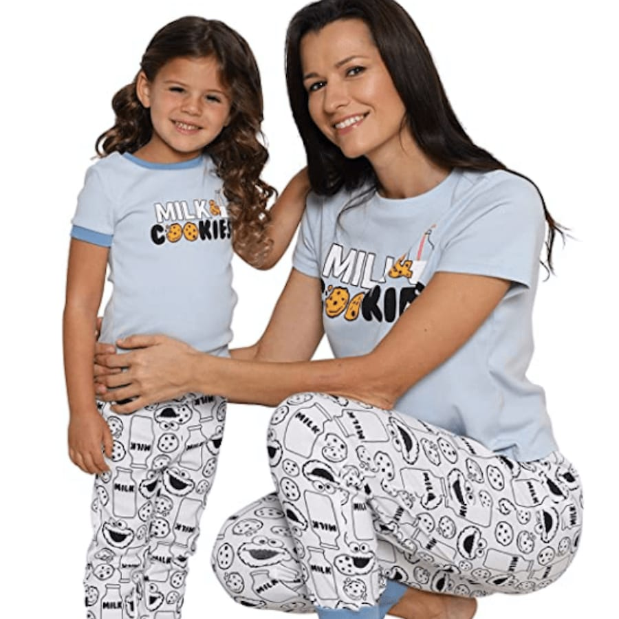 Mommy and Me Matching Sesame Street Cookie Monster PJs