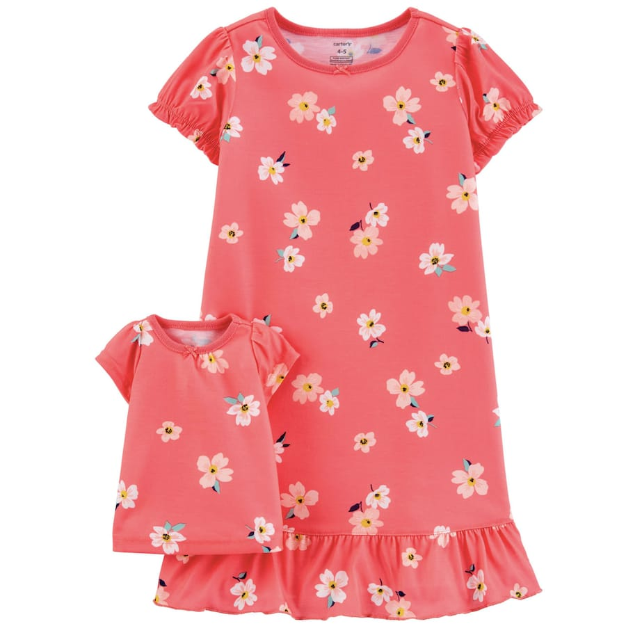 Pink Floral Matching Nightgown & Doll Nightgown Set