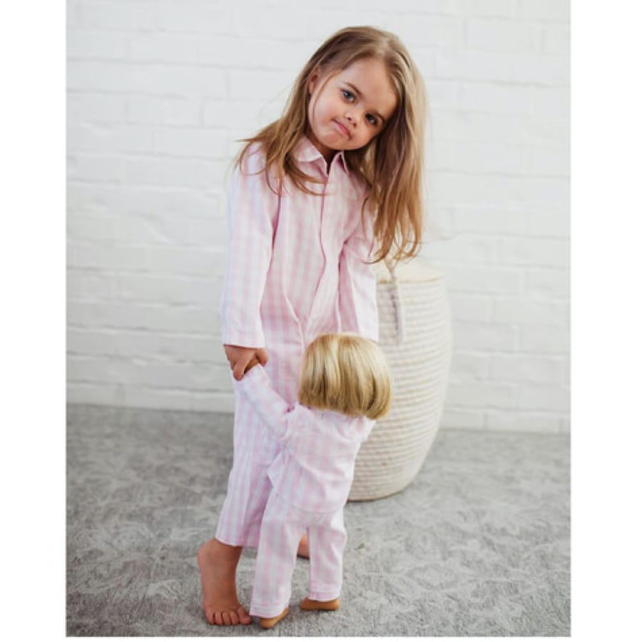 Pink Gingham Child and Doll Matching Pajamas