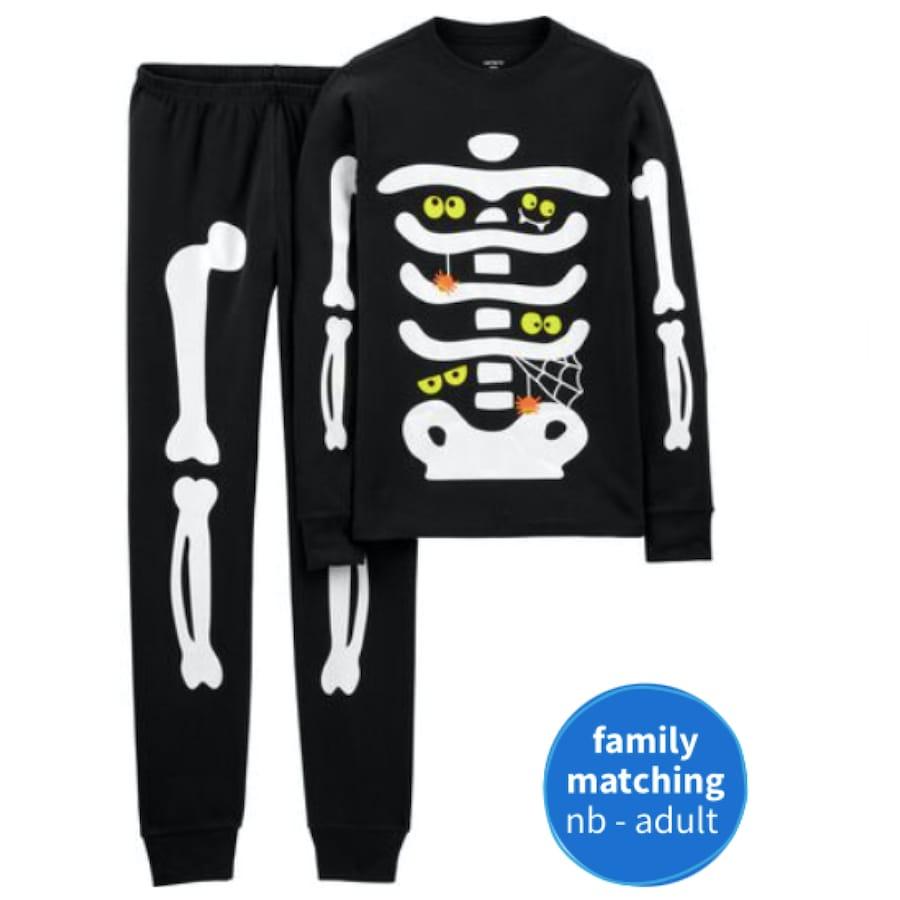 Cotton Glow Halloween Skeleton Family PJs