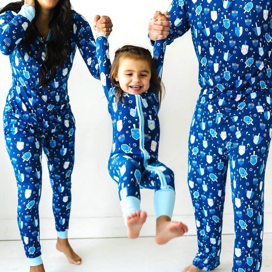Family Matching Hanukkah Bamboo Viscose Dancing Dreidel Pajamas