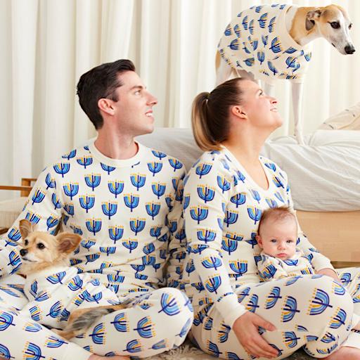 Matching Family Hanukkah Menorah Organic Cotton Pajamas
